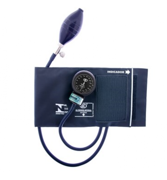 Esfigmomanometro Aneroide Adulto Bracadeira Nylon Velcro Azul Marinho